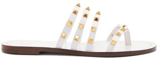 Valentino Rockstud Flair Leather Sandals - White