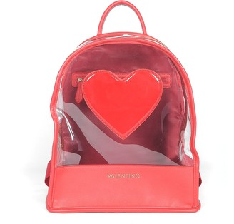 Transparent PVC and Red Eco-Leather Backpack