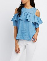 Charlotte Russe Chambray Ruffle-Trim Cold Shoulder Top