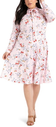ELOQUII Floral Long Sleeve Fit & Flare Dress