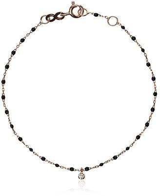 Gigi Clozeau 18k rose gold Mini Gigi diamond and black beaded bracelet