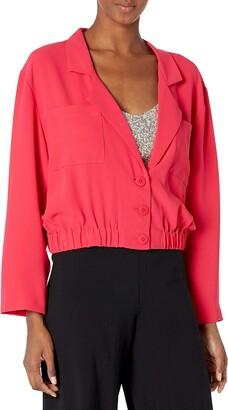 Amanda Uprichard Albany Elastic Waist Button Up Cropped Jacket