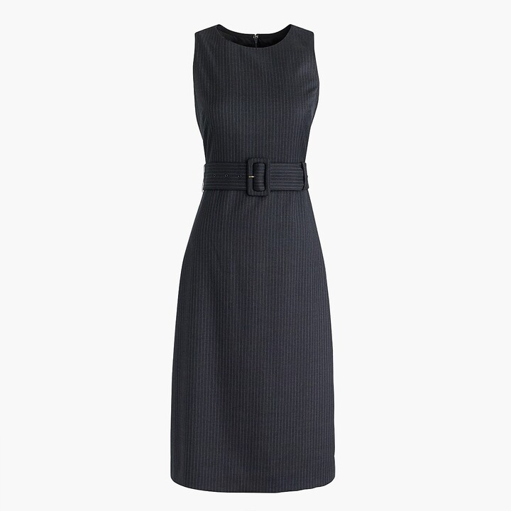 Thumbnail for your product : J.Crew Belted sheath dress in pinstripe Super 120s wool