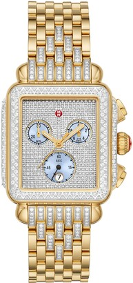 Michele Deco Pave Diamond Chronograph Watch Head & Bracelet, 33mm