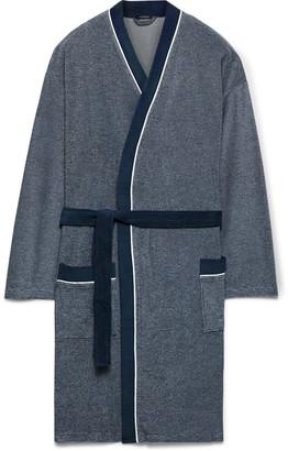 Schiesser Striped Cotton-Blend Terry Robe - Men - Blue