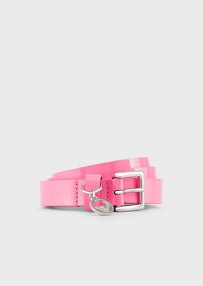 Emporio Armani Fluorescent, Patent Leather Belt With Logo Charm