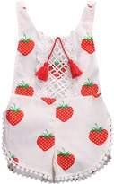 Zoe's wardrobe Newborn Baby Girls Sleeveless Tassels Strawberry Print Backless Bodysuit (2-3Y)