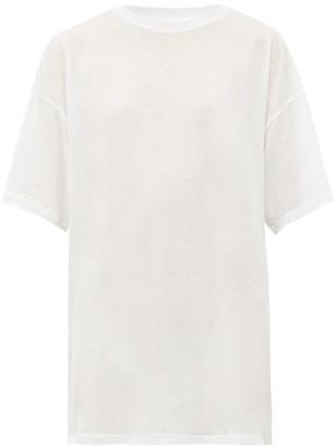 Raey Long Line Cotton Jersey T Shirt - Womens - White
