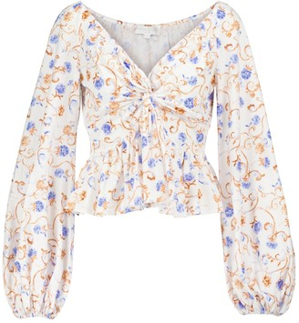 Caroline Constas Onira floral cotton-blend top