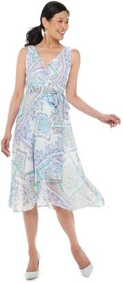 Chaps Petite Paisley Surplice Midi Dress