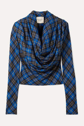 A.W.A.K.E. Mode Blue Highlander Rollercoaster Draped Checked Twill Blouse - FR40