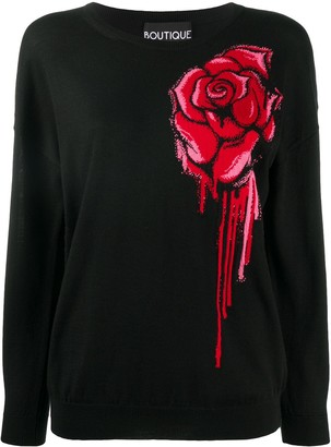 Boutique Moschino Rose Intarsia Jumper