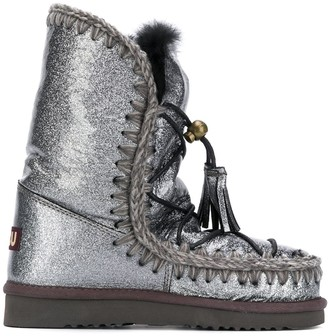 Mou Glitter Lace-Up Ankle Boots