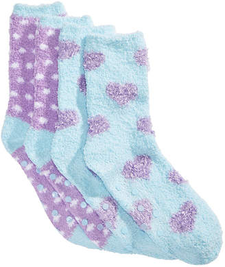 LTB Cozy Socks Little & Big Girls 2-Pk. Printed Gripper Crew Socks
