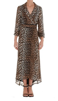 Ganni Leopard Printed Georgette Dress