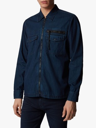 HUGO BOSS Lovel Oversized Denim Zip Shirt, Dark Blue