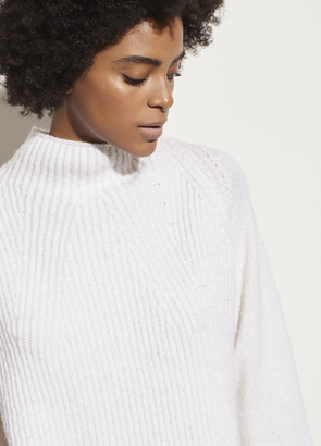 Vince Mixed Stitch Funnel Neck Pullover