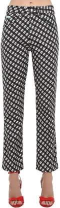 ALEXACHUNG Alexa Chung Check Printed Cotton Denim Jeans