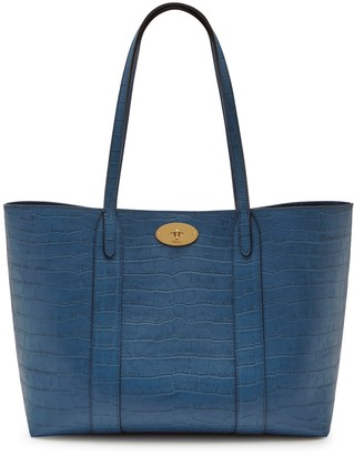 Mulberry Bayswater Tote Pale Navy Matte Croc