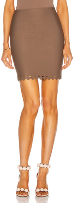Alaia Scalloped Edge Bodycon Mini Skirt in Savane | FWRD