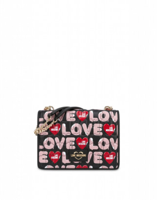 Love Moschino Shoulder Bag Ice Cream Logo Woman Black Size U It - (one Size Us)