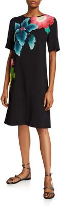 Etro Japanese Floral-Print Short-Sleeve Dress