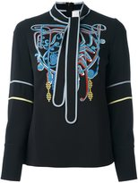 Peter Pilotto embroidered neck tie blouse