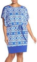 Sangria Plus Size Women's Print Jersey Blouson Dress