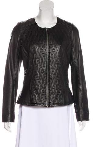 Hinge Quilt-Accented Leather Jacket