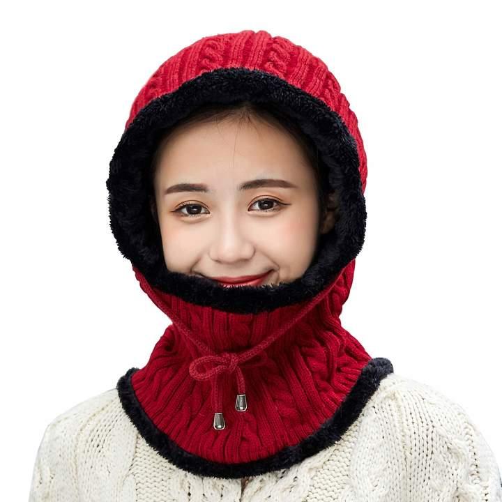 e5b7aac41 HUAMULAN Women Winter Skull Knit Fleece Balaclavas Hat Cap Beanie Ski Neck  Scarf