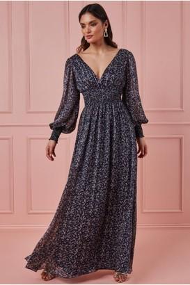 Goddiva Long Sleeve Floral Print Maxi with Shirred