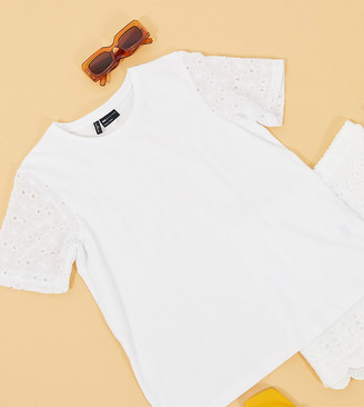 Asos Tall ASOS DESIGN Tall t-shirt with floral cutwork sleeve detail
