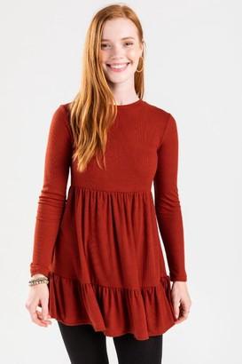 francesca's Elizai Babydoll Mini Dress - Rust
