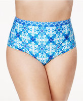 LaBlanca La Blanca Plus Size True Blue Printed High-Rise Tummy-Control Bikini Bottoms Women's Swimsuit