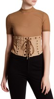 Wow Couture Short Sleeve Waist Lace Up Bodysuit