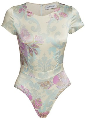Adriana Iglesias Bel Stretch-Silk Floral Jacquard Bodysuit