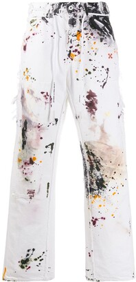 Off-White Ink Splash Print Slim Jeans