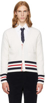 Thom Browne White Cricket Stripe Trompe Loeil V-neck Cardigan