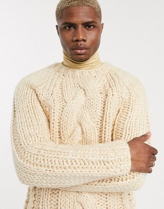 Asos DESIGN heavyweight hand knitted cable sweater in oatmeal