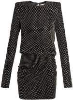 Saint Laurent Crystal-embellished square-shoulder dress