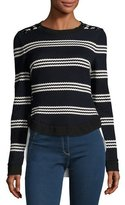 Veronica Beard Long-Sleeve Striped Mixed-Media Top, Navy/White