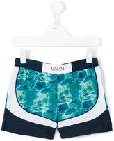 Armani Junior water pattern swim shorts - kids - Polyester - 4 yrs