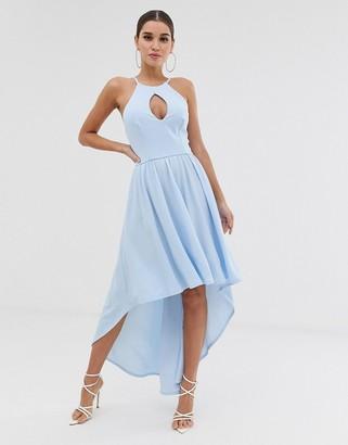 Club L London hi-lo midi dress with key hole detail-Blue