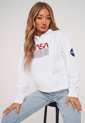 Missguided White Nasa Graphic Sleeve Detail Hoodie