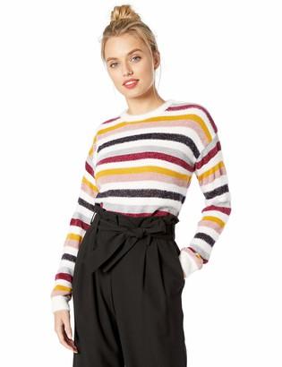 Cupcakes And Cashmere Women's Rach Multi Stripe Crew Neck Sweater