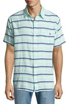 Sol Angeles Grotto Striped Short-Sleeve Sport Shirt, Green
