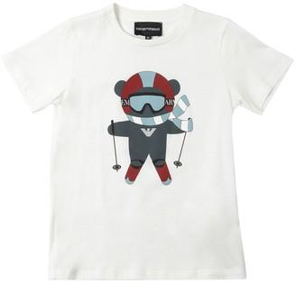 Emporio Armani Bear Ski Print Cotton Jersey T-Shirt