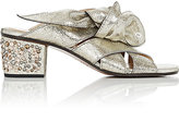 Chloé WOMEN'S JEWELED-HEEL CRACKED LEATHER SANDALS