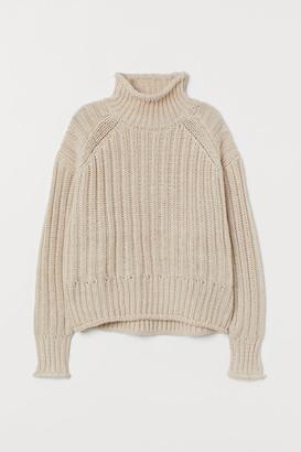 H&M Rib-knit Turtleneck Sweater - Beige