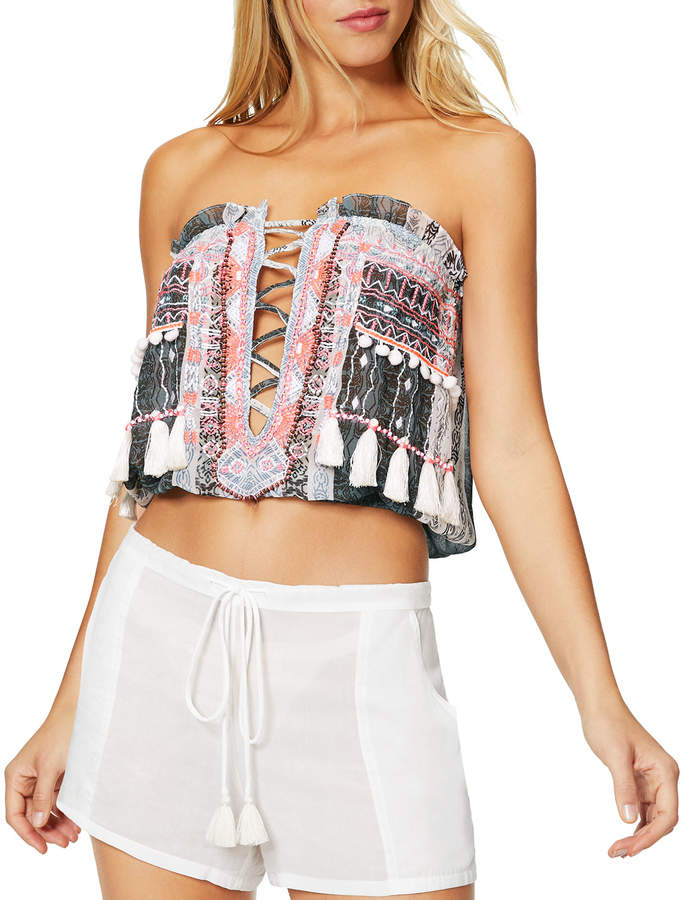 Alessia Embroidered Lace-Up Sleeveless Top
